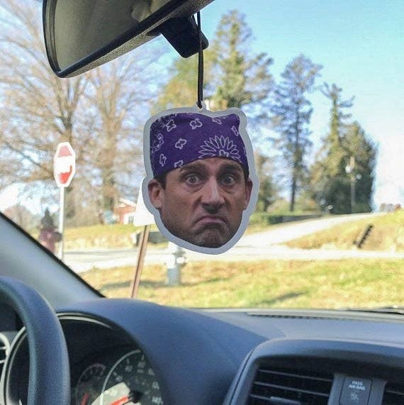 """air freshener of Michael Scott's face from the Prison Mike scene from """"The Office"""""""