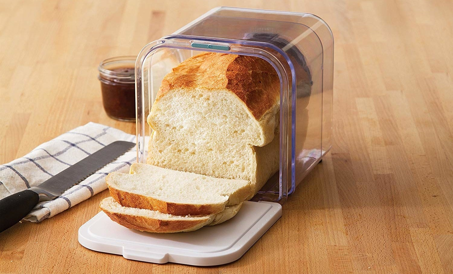 "Helps to keep bread and baked goods fresher longer. The air vent is adjustable for a variety of conditions — closed for dry conditions and opened for humid conditions. The magnetic closure helps keep it snapped shut and secure. Plus, this is BPA-free and dishwasher-safe!Promising review: ""I love these. Years ago, I was looking for a bread box and just couldn't find one that would allow me to cut the bread and put it right back in the box easily. I love that you can cut the bread on the front and that it is magnetic and how it expands. Soooo handy. I have two of them, so I can rotate, or sometimes both of them have bread in them. This would be easy for cookies or any baked goods you want to get in and out of easily on your counter. Really love this product."" —Walnut Farm DesignsPrice: $19.28"