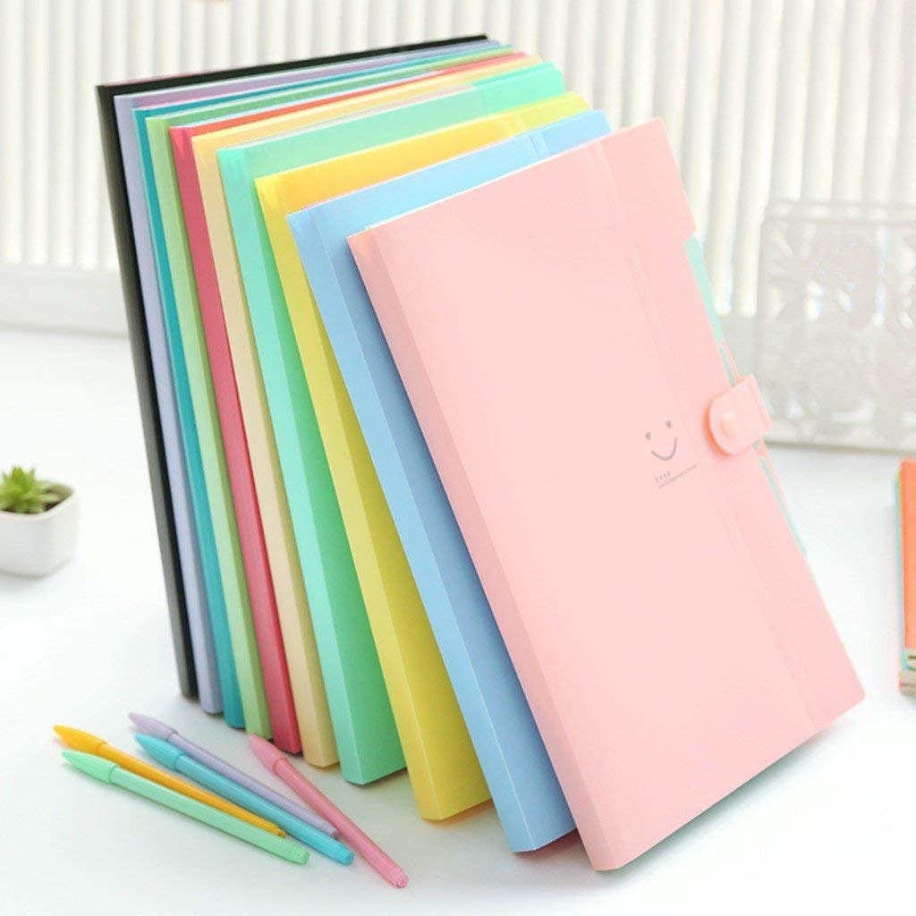 pastel accordion folders with smily face design