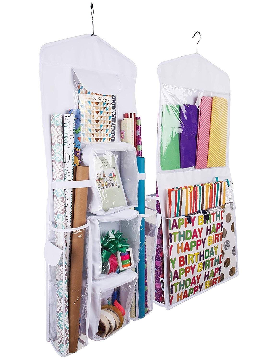 """Promising review: """"Took my all of my gift bags, wrapping paper, ribbon, bows, and gift tags from a trunk to hanging in a storage closet. This works so well and now that I can see everything I have at a glance, it has saved me from buying doubles of stuff I already have. It also prevents me from forgetting about cute stuff that would otherwise get buried in the bottom of the pile I previously kept in the trunk. Don't hesitate, get one! I also got one for Christmas gift wrapping supplies. I could also see this having several different applications (organizing accessories; craft supplies; board games and toys)."""" —Amazon Customer Get it from Amazon for $23.99+ (available in three colors)."""