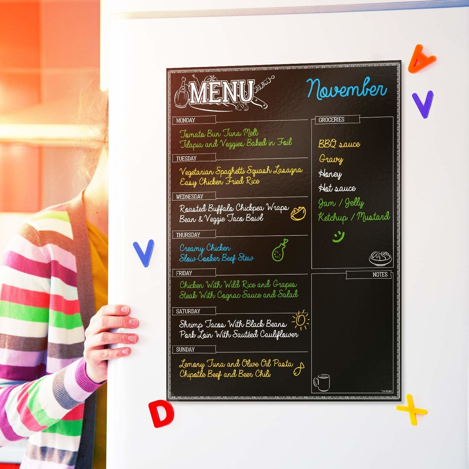 """You also get four different chalk markers so you can start prepping immediately!Promising review: """"Absolutely love the magnetic menu. It makes meal planning fun. I really like that there's no filmy residue left when you erase the chalk markers!"""" —TysieGet it from Amazon for $18.95."""