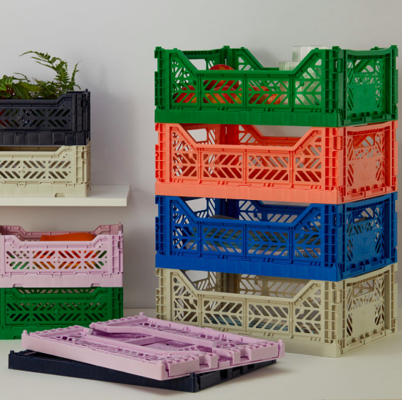 Colorful collapsible storage bins