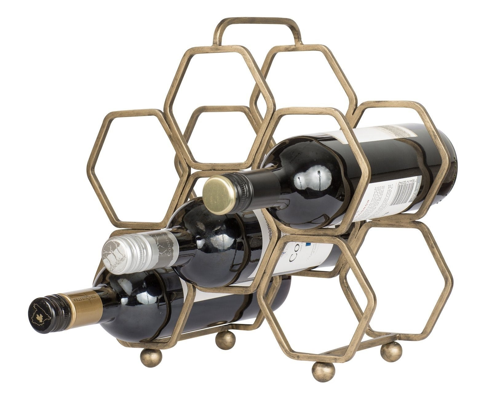 This wine rack is designed to hold six bottles.Price: $69