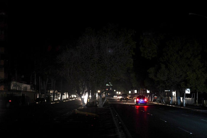 Night view of a street during a blackout in the city of Barquisimeto on March 7.