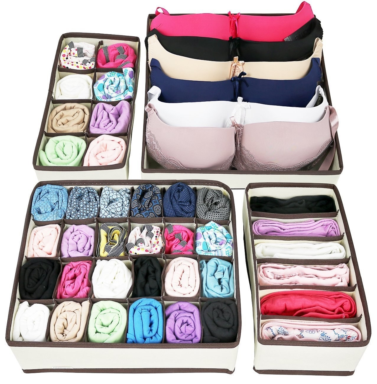 You get a set of four bins to hold socks, underwear, bras, and neckties.Get them from Walmart for $10.99.
