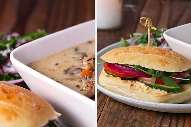 Hühnchen-Wildreissuppe mit Hummus-Sandwich geht direkt in die Seele