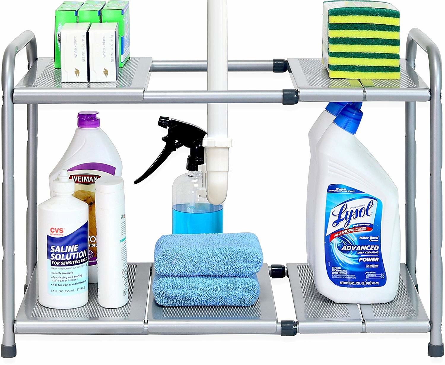 """Promising review: """"Before I got this, the cabinet under my kitchen sink was an absolute mess. All the cleaning supplies were piled on top of each other; there were empty grocery store bags everywhere. I would have to dive in there in order to find anything. As soon as I got this shelf my cabinet made a turnaround. The shelf was extremely easy to set up, although you have to get in there in order to get the sink pipes between the shelf tubes, but it was nothing. The skeleton of the shelf is expandable and fit my cabinet perfectly. You can also adapt the height of the shelves to your liking or needs. I personally set it up so that the shelves would be at the very top and at the very bottom of the unit. The height between shelves is perfect for tall cleaning spray bottles and whatever you want to put there. It definitely is the best organizer for places where there are pesky pipes in the way that use up valuable space."""" —Ro2xGet it from Amazon for $22.87."""