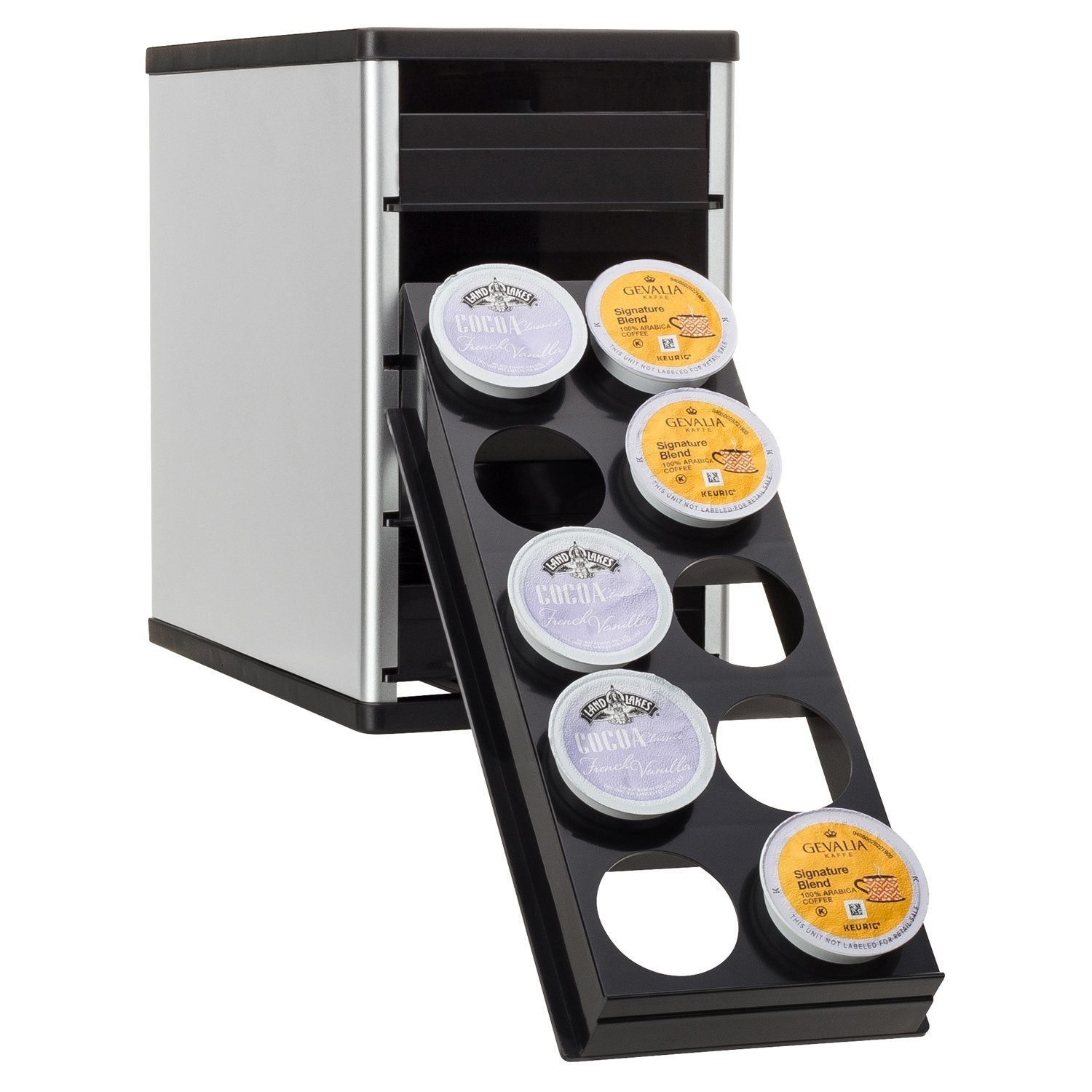 """Promising review: """"This K-cup organizes them wonderfully. The drawers slide out easily and flip down so it's easy to see the cups. I have it sitting in a cabinet that is above eye level, so it's nice to be able to lower each level so I can choose a variety of K-cups without having to get a stepladder! I read about previous buyers having problems with the drawers sticking, but this issue must have been resolved because I have a variety of K-cups from multiple companies and have absolutely no problems with the drawers. It works perfectly and is a great way to organize! I use different drawers for different items (coffee, tea, hot chocolate), so it's easy to pull out the right drawer for the item I'm looking for!"""" —Kindle CustomerGet it from Amazon for $24.99."""