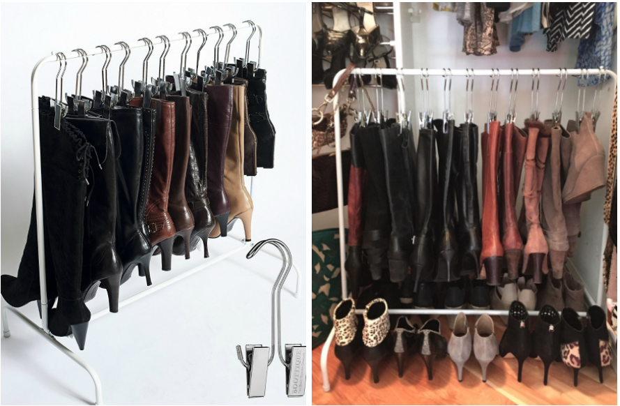 (left) Boot rack in white filled with tall boots and a close-up image of the hook (right) A reviewer's image of the boot rack filled with tall boots with short boots in front of it in a closet