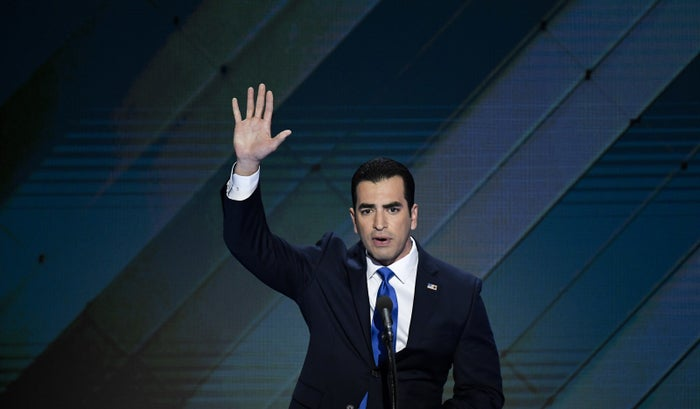 Former Rep. Ruben Kihuen speaks at the 2016 Democratic National Convention, a year before allegations of sexual harassment first emerged, forcing him to retire from Congress.