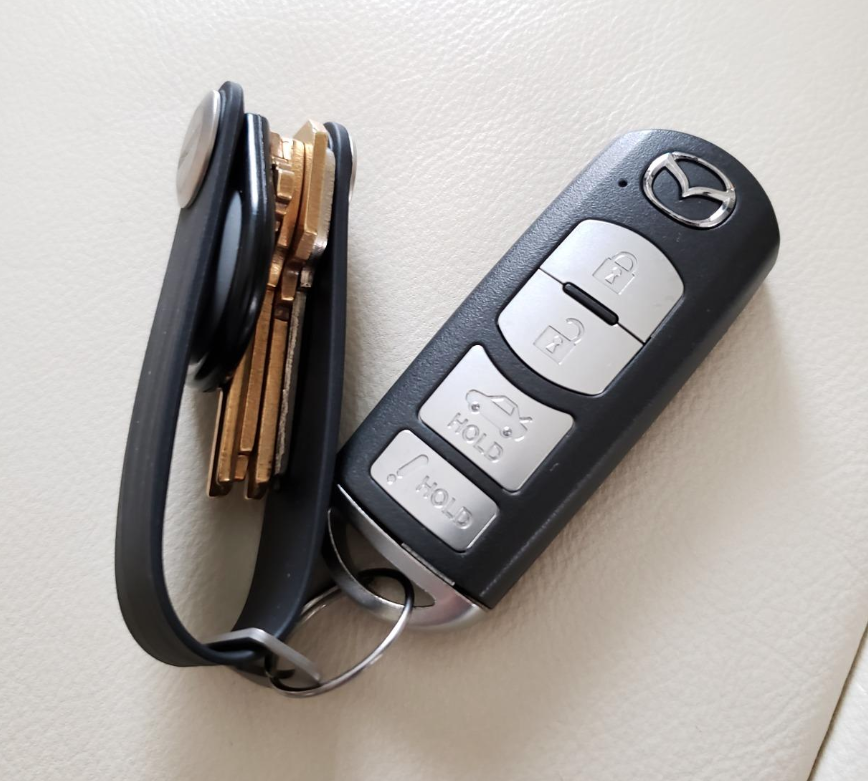 reviewer photo of keys neatly tucked away on key chain