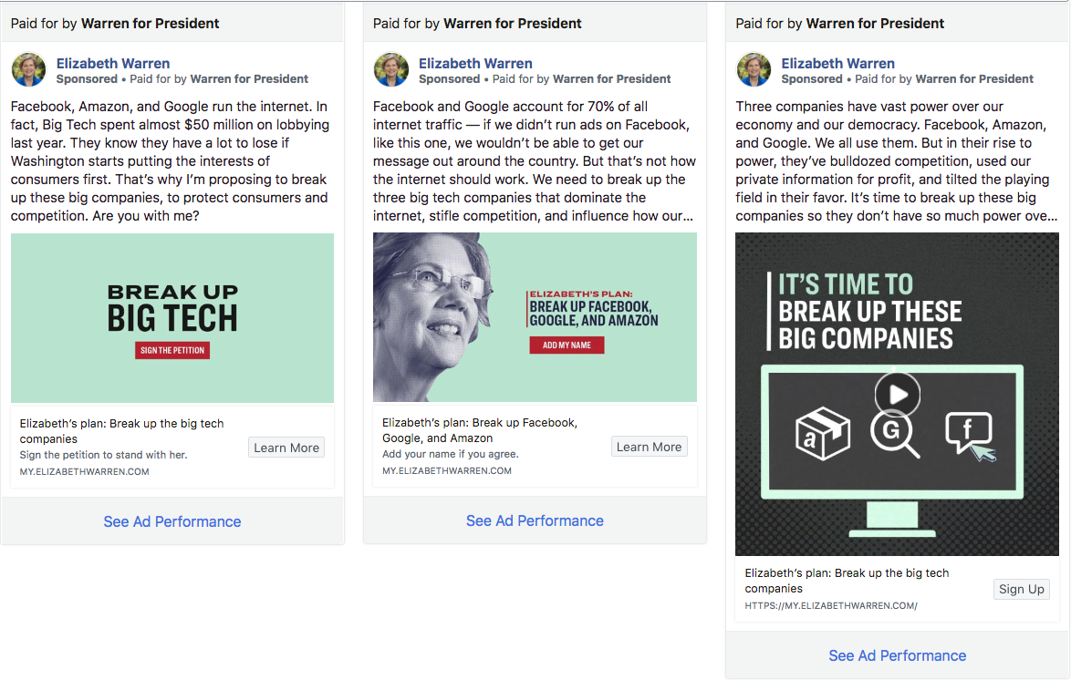Facebook's ad archive shows various ads being run by Senator Elizabeth Warren's presidential campaign. The ad on the right was briefly taken down by Facebook for violating the company's ad policies because it employed the Facebook logo.