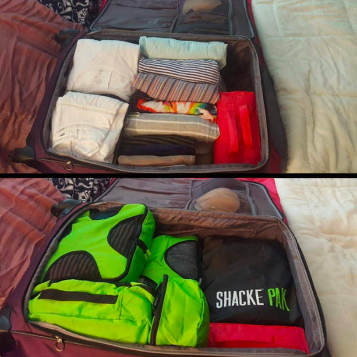 A before and after of the reviewer's packed suitcase with and without the cubes
