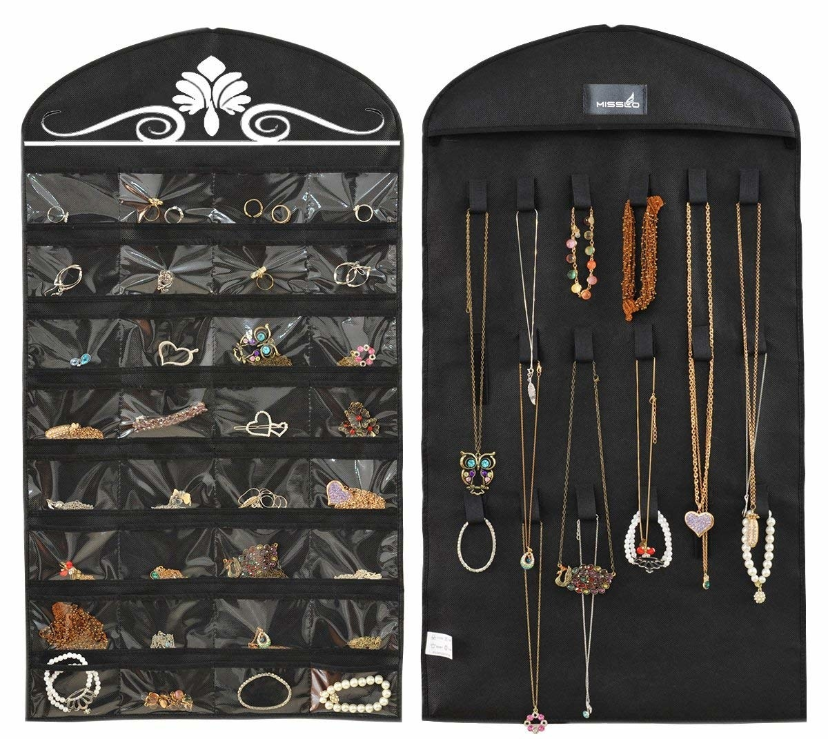 rings organized on one side of the misslo jewelry organizer and necklaces organized on the other side