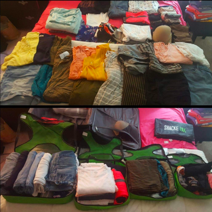 A before and after of a reviewer's clothes laid out on the bed and then them packed compactly in the green fabric zip cubes