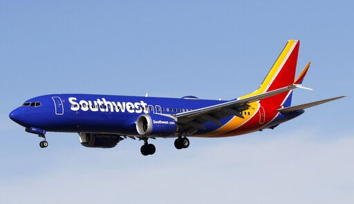 A Boeing 737MAX 8 jetliner belonging to Southwest Airlines.