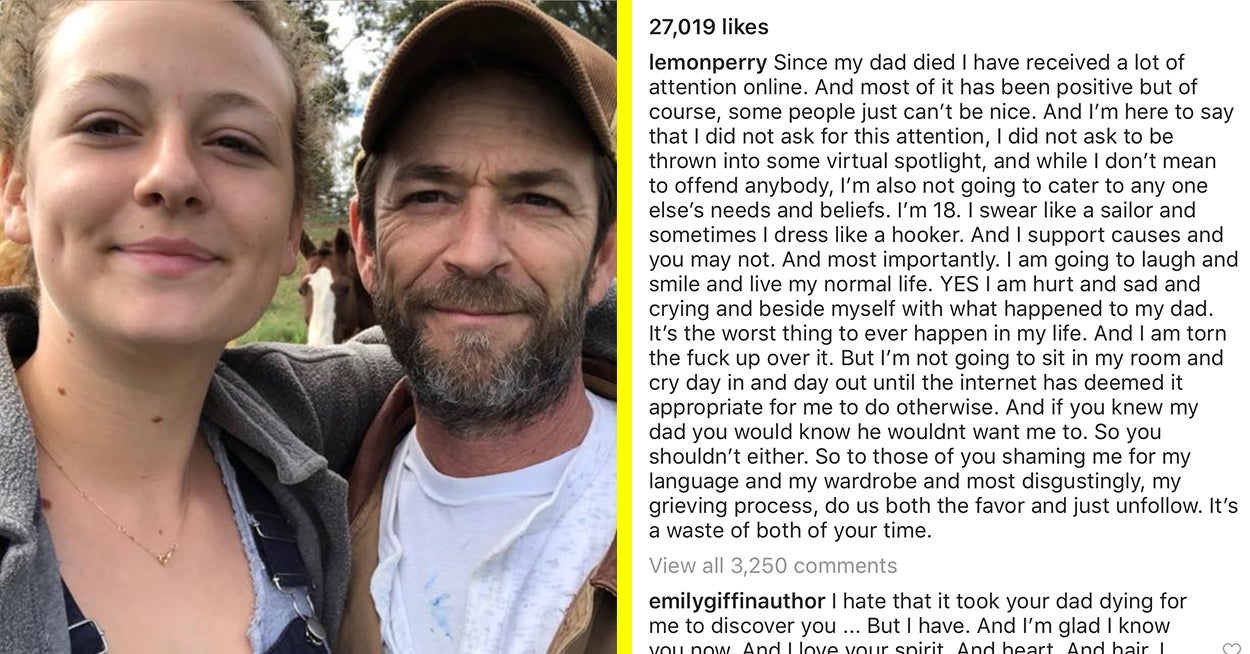 """Luke Perry's Daughter Has Responded To Trolls Who """"Shamed Her Grieving Process"""""""