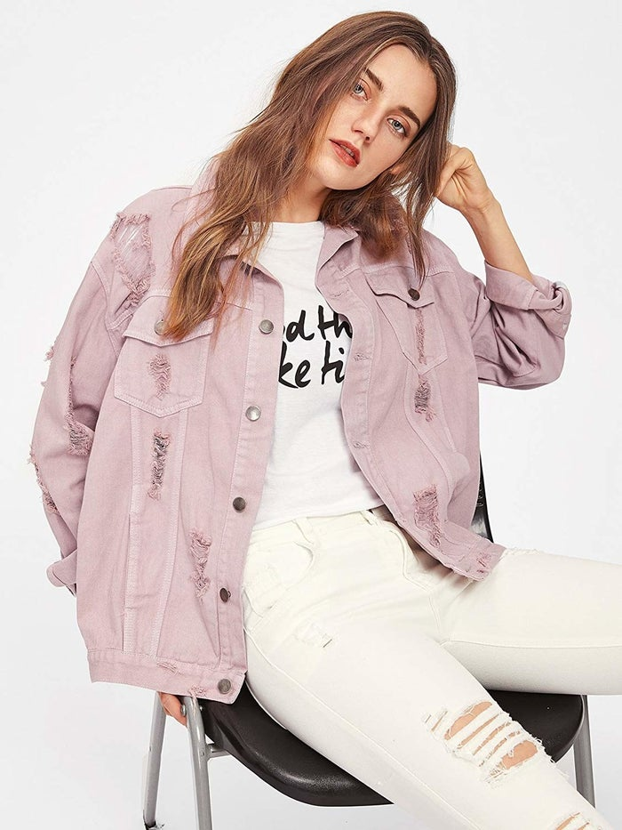 """Promising review: """"This jacket is amazing. It is such a statement piece and the oversized look is so nice to add a little edginess to an outfit."""" —Amazon CustomerGet it from Amazon for $24.99+ (available in sizes S–XL and 10 colors/designs)."""