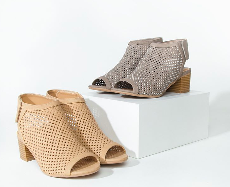 bootie with perforated leather design and cork heel