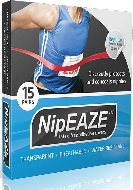 "NipEase packaging. reads ""discreetly protects and conceals nipples, latex-free adhesive covers, transparent, breathable, water resistant, 15 pairs"""
