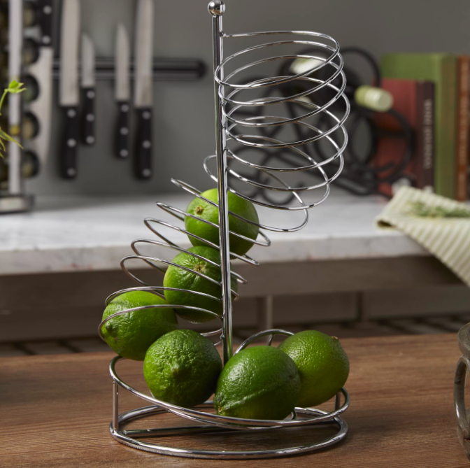 the upright spiral fruit basket in stainless steel