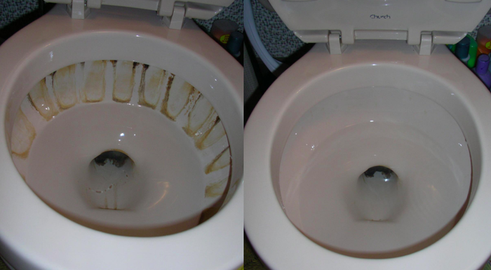 """Promising review: """"Awesome for cleaning toilets!! Buy this now if you have hard-water stains!! We tried everything on toilets when we bought a house and were about to replace them until we tried this. They look almost new now!! Def prefer the ones with a handle, especially when using on toilets! The before-and-after picture is after like maybe three to five minutes of lightly scraping!"""" —CristaCross Get it from Amazon for $7.99."""