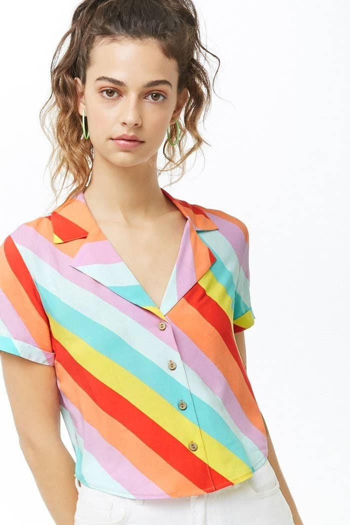 c5859135bc8 A rainbow button down to bring the sunshine even on the rainiest spring days.  Forever 21