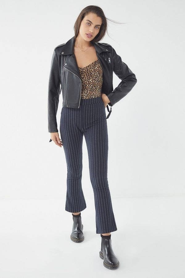83e4e17bc5386 Stretchy pinstripe pants masquerading as tailored trousers; you can just  pull 'em on and head out the door. Outfit complete!