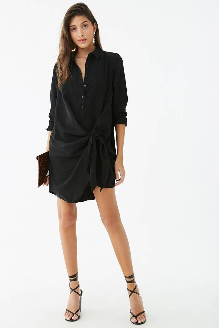 a96f5ee10b A runway-worthy tie front shirt dress your friends will knot believe you  got for under $30. Forever 21