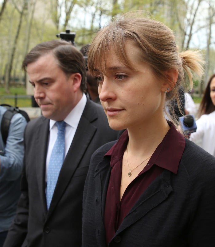 Allison Mack departs federal court after a bail hearing in relation to the sex trafficking charges.