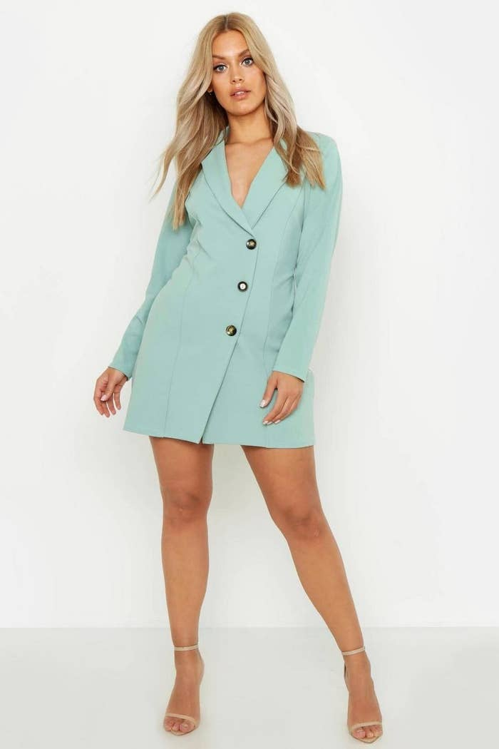 dc413aace8b2 A buttoned blazer dress for putting your overworn LBD to pasture. It's time  to introduce some color to your nightlife wardrobe.