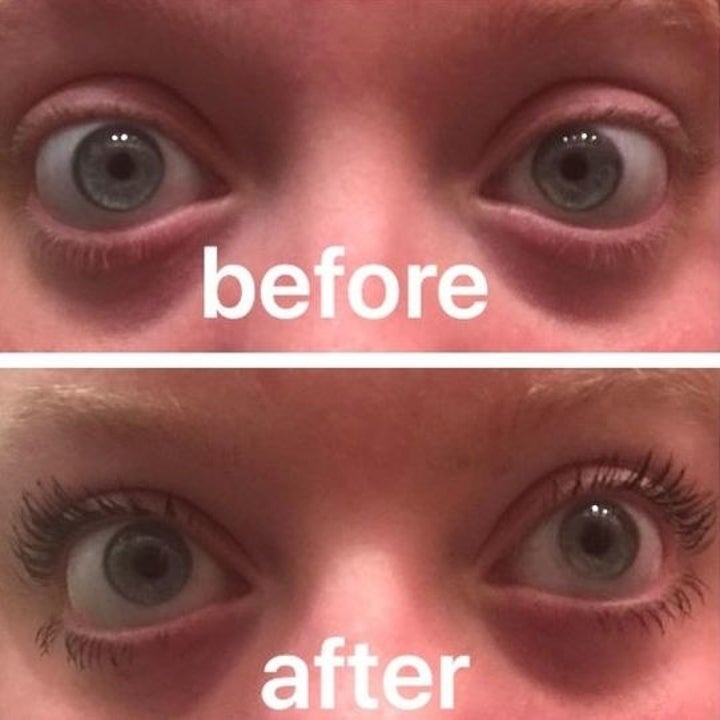 reviewer with eyelashes not visible, then very long and full eyelashes thanks to the mascara