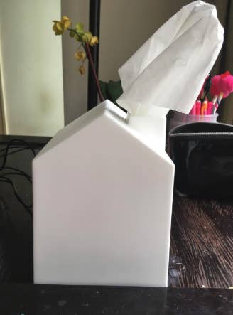 "Promising review: ""I was looking for a nice white tissue box (instead of just having a box of tissues out) that wasn't crazy expensive. The house look adds an extra touch of whimsy that I love. It's a lightweight plastic/resin that's easy to clean. After reading others reviews, I decided to just go ahead and start but cutting off the top of the tissue box to make the tissue pulling to the side of the chimney easier, and ya know what, it works just fine. "" —Janine H.Price: $6.74"