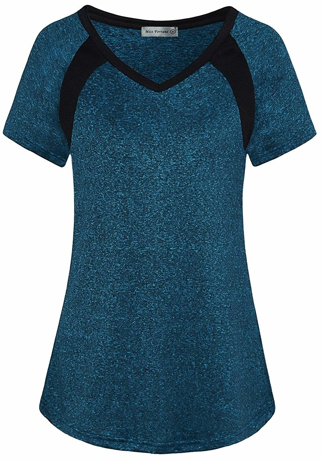 blue marled T-shirt with black details on the shoulders