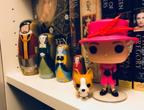 "Promising review: ""Over the years I've kept an eye on Funko Pop to see if they'd come out with a collectable I'd like. When finding out that they were going to do a Queen Elizabeth II that came with a Corgi figure as well I almost fainted! Such a nice added touch to include one of the Queen's Corgis! The feather on her hat is also a nice attention to detail and makes this figurine stand out."" —lovescorgisPrice: $9.99"