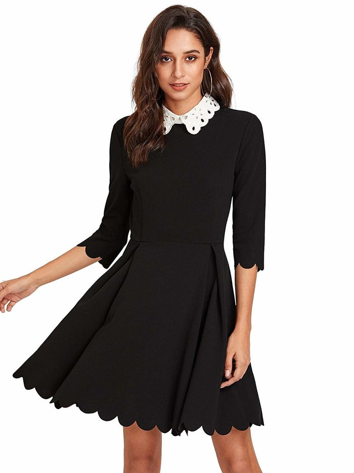"""As in every Wednesday, you live your best Wednesday Addams life.Get it from Amazon for $22.99+ (available in sizes XS–XXL and 10 different dress/collar styles and colors).Promising review: """"The fabric feels wonderful and of higher quality than it probably actually is. It's very vibrant and flowy, and all the little details seem made very well."""" —Kyra Brown"""