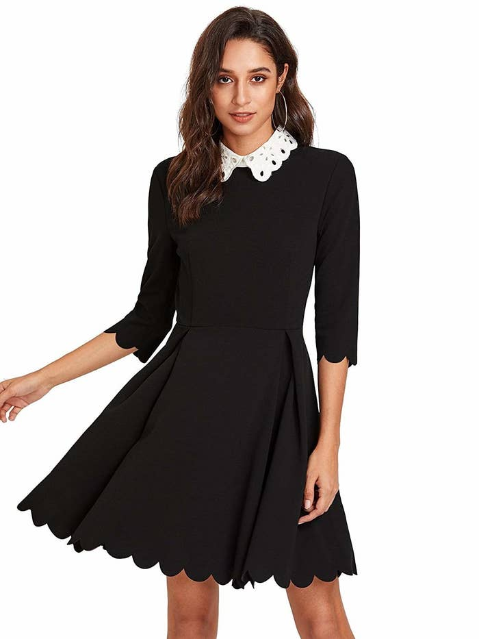 da486fde73fe25 A little black dress with scalloped detailing and a lace collar for a  ladylike twist on your weekly Wednesday Addams look.