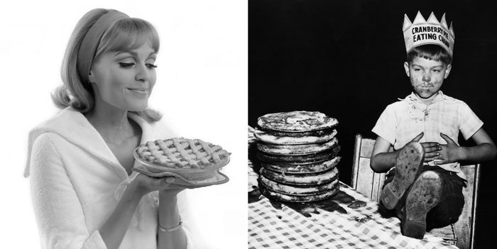 Left: A model poses with a lattice pie for an advertisement in 1966. Right: Richard Baranski, 6, caresses a full belly after being crowned Cranberry Pie-Eating Champion upon eating a 10-inch cranberry pie in 15 seconds flat. The contest was part of a 1948 national celebration of cranberries.