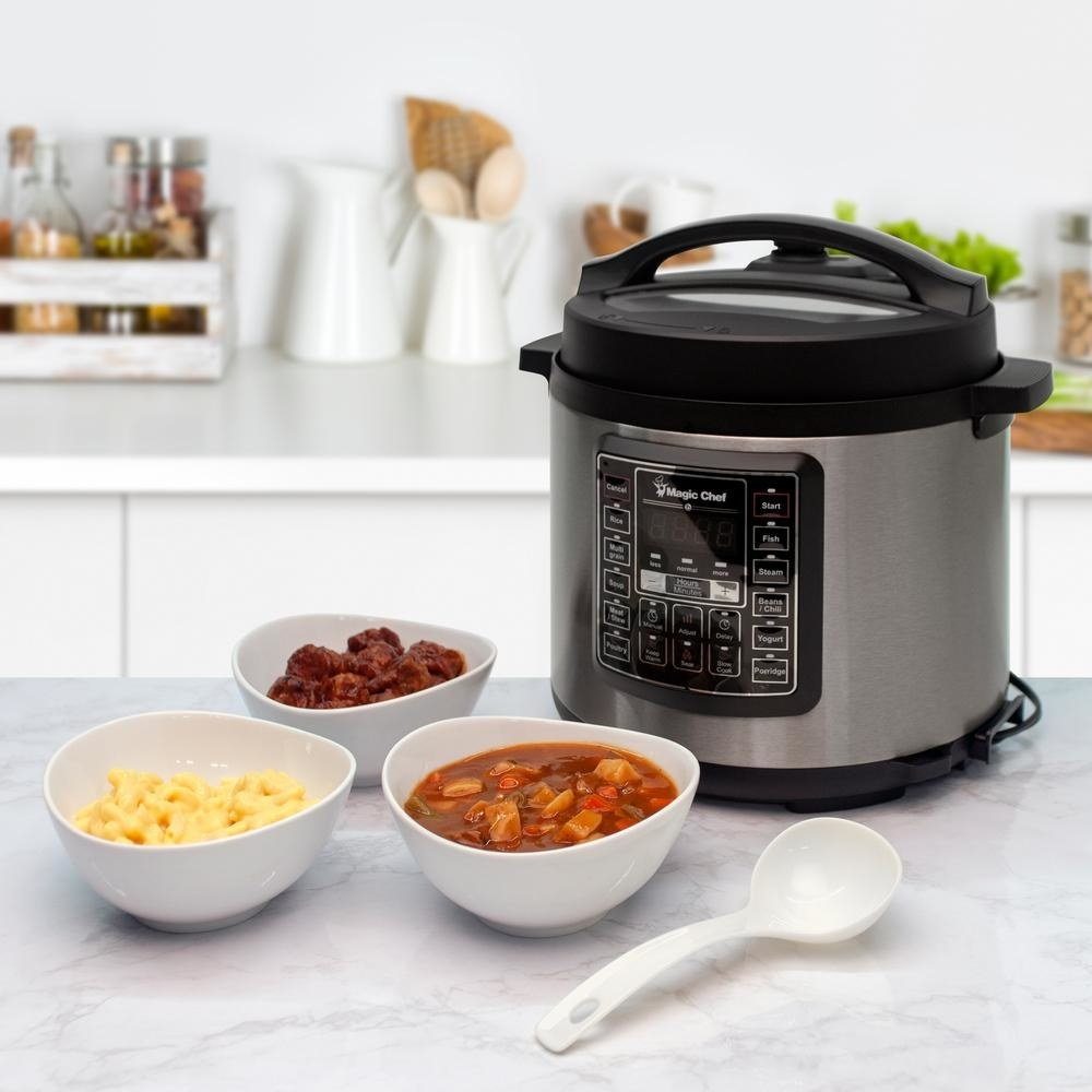 """With a ton of safety features (like pressure control and pressure limit), this cooker is a must-have for families. It comes with a stainless steel rack, soup ladle, rice scoop, measuring cup, and a condensation collector. Plus, the inner pot is dishwasher-safe for easy clean up.Promising review: """"This six-quart cooker has exceeded my expectations because of its heavy stainless steel pot with its extra thick bottom. Compared to my old cooker, its faster to clean and has shorter cooking times. I really like that I can grab a chicken breast out of the freezer and set it for about 20 minutes, then add a frozen package of stir fry veggies and in about 20 minuets be eating my lunch or dinner. No more tough cuts of meat with the Magic Chef because they come out 'falling off the bone.' I can tell you folks that the Magic Chef is your friend, a time saver, a money saver, and if you follow a few simple rules it is the safest way to cook a whole meal with the push of one button."""" —DustyPrice: $59.88 (originally $66.94)"""