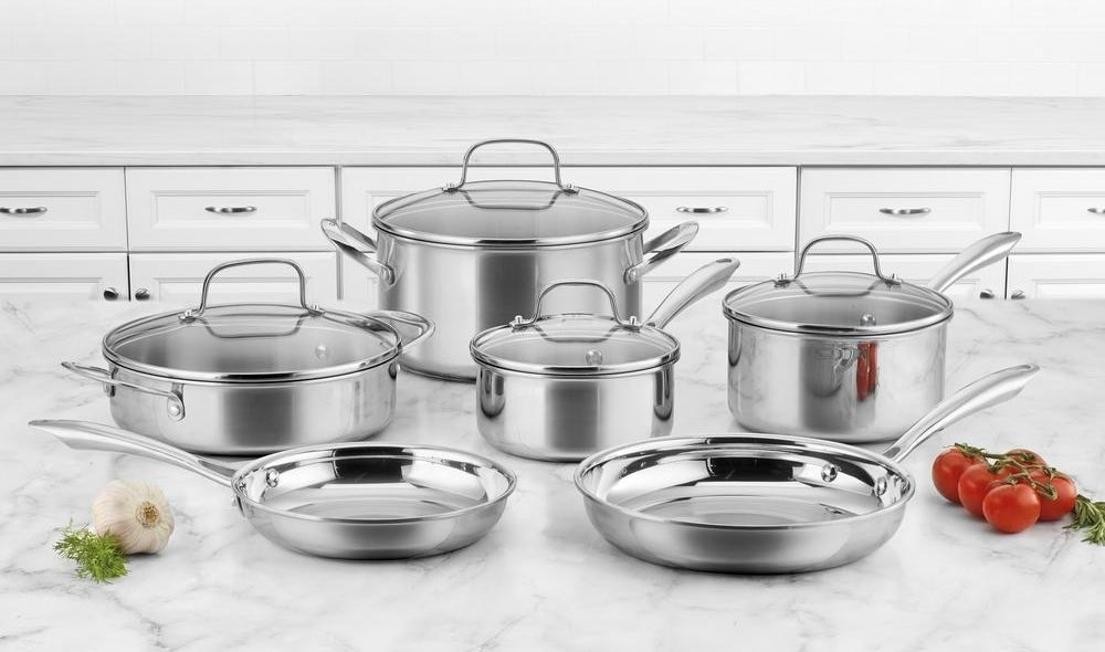 """The set includes a 1.5-quart saucepan with lid, a 2.5-quart saucepan with lid, a 3-quart casserole with lid, a 6-quart stockpot with lid, a 8-inch skillet, and a 10-inch skillet.Promising review: """"Excellent cookware set with superior interior finish, easy cooking and cleanup. We use only stainless steel cookware, and we never use cookware with a nonstick coating. But we still want our cooking process and cleanup to be as easy as possible. Cuisinart got it right with the interior finish on these pans. Fried eggs cooked perfectly in the 10-inch Cuisinart skillet, and nothing stuck to the pan. There are no hot spots in the pans, as the Cuisinart tri-ply distributes heat evenly (all of the fried eggs were equally cooked). The pans that have glass lids make it easy to monitor the cooking process. This is a great set of cookware, and an excellent value."""" —AMGardenerPrice: $171.88 (originally $229)"""