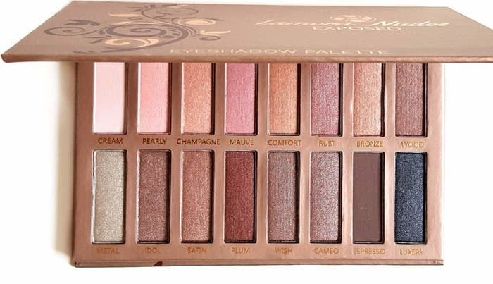 "Promising review: ""I have all the Urban Decay Naked palettes except one, and let me just say that this palette is just as good. The shadows have a buttery feel and go on smooth with a minimum of fall out. I use all my shadows with an eyelid primer (Milani nude, at present) and with the primer, these shadows have just as good staying power as Urban Decay, MAC, etc. at least in my opinion."" —DeniseGet it from Amazon for $9.97+ (available in three color palettes)."