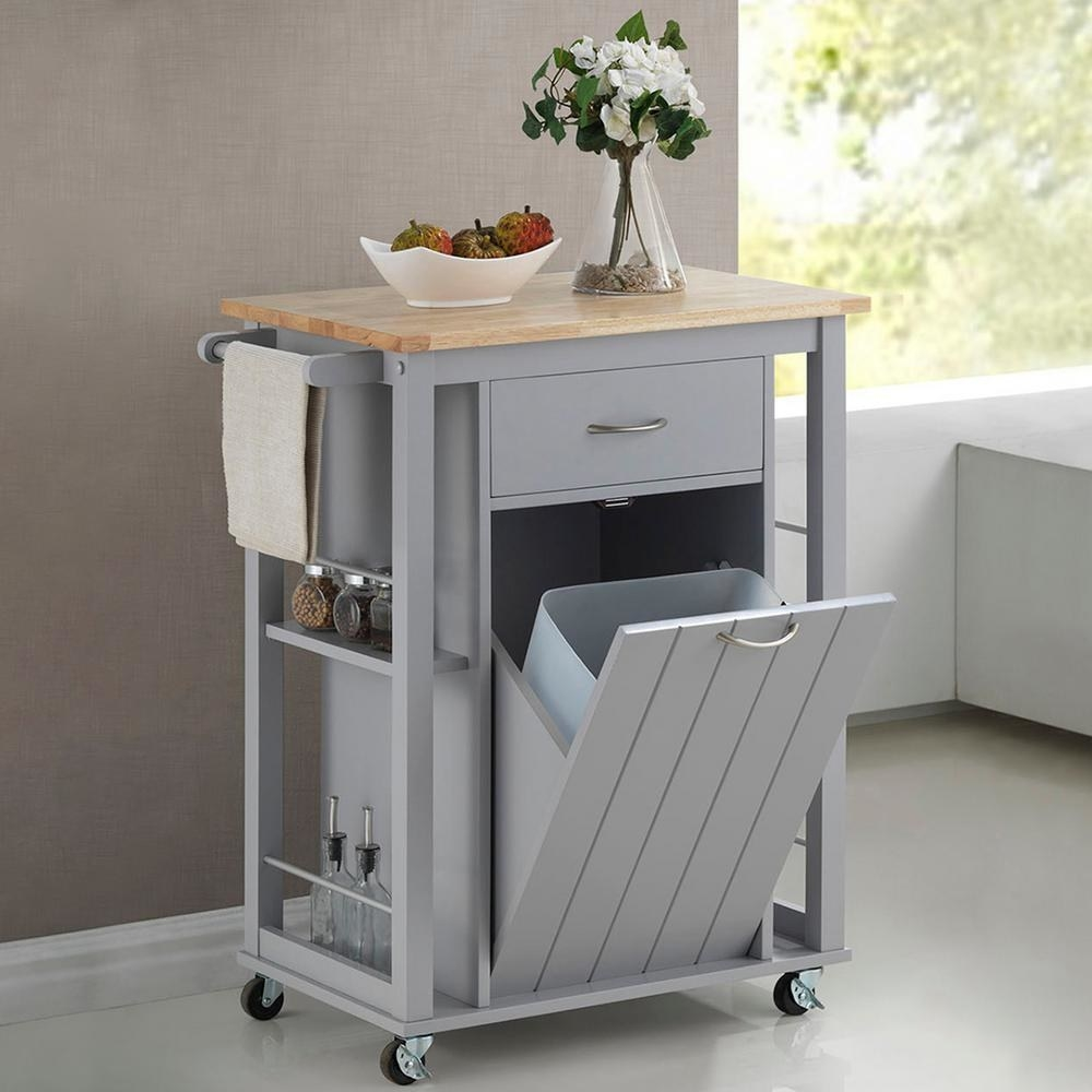 """Promising review: It took me a while to assemble so I suggest you group screws. After I assembled it, the cart was a perfect fit for my kitchen. There was a smell of formaldehyde in the beginning so I moved a fan onto it for a while. I also softened the closing of the trash bin with stoppers so I don't hear a loud nose when it closes. Overall it's a cute cart and hides our trash bin out of sight."""" —JYWPrice: $205.88 (originally $275)"""