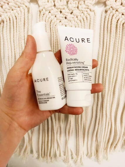 """The double cleansing method involves using an oil to remove makeup before washing your face with a cleanser to remove any product left on your skin after cleansing it with the oil. Many people will then follow up double cleansing with a restorative cream — like the Acure Radically Rejuvenating Resurfacing Cream shown above — and then move on to the rest of the steps in their routine.""""I put a few drops of the oil in the palms of my hands and gently massage my face. I use a cotton ball toremoveanymakeup. I do this as a first wash before following up with my cleanser. It easilyremoveseven mascara, so I don't buymakeupremoveranymore, which clears up vanity space AND saves me money."""" —Zlz"""