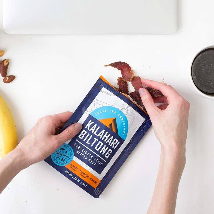 This super thinly sliced beef jerky comes in three flavors: garlic, spicy peri peri, and original. Plus, it's packed with protein so it'll leave you feeling satiated.Get a pack of three from amazon for $22.14.