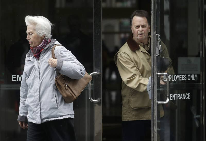 Edwin Hardeman (right) leaves the federal courthouse in San Francisco with his wife Mary.