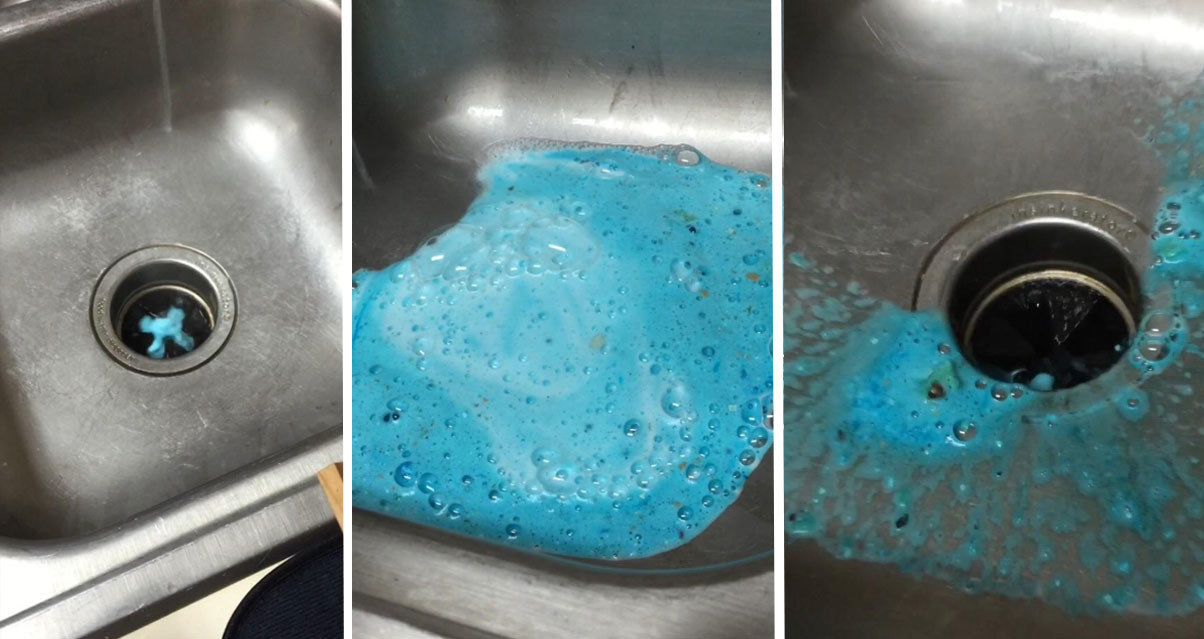 A photo series of the garbage disposal cleanser before, during, and after use. In the last image the build-up from the sink disposal has loosened and come out