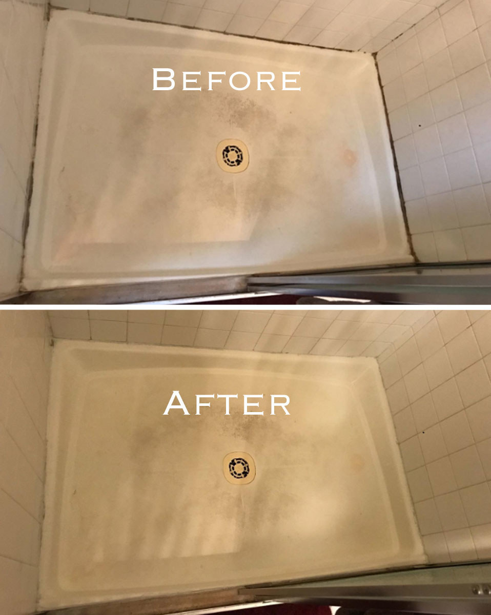A side by side of a shower floor before and after using the concentrated gel, which removed the mold from the shower's outer rim
