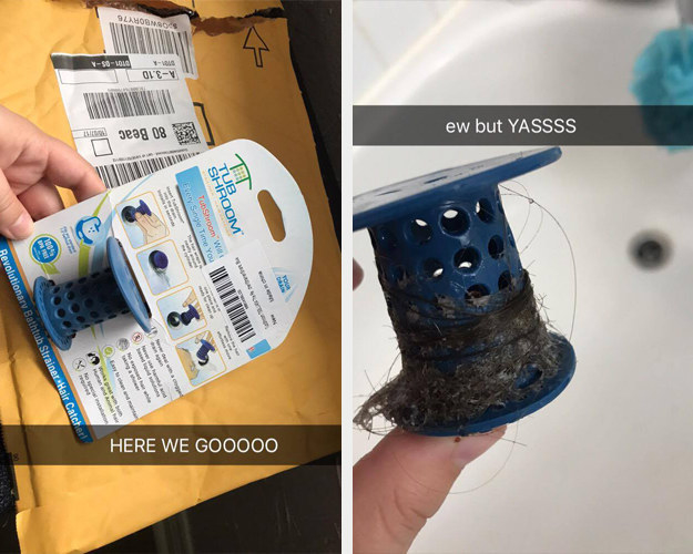 """A reviewer holding the TubShroom with the caption """"Here we goooo"""" next to an image of the same reviewer's TubShroom, which is now covered in hair and is captioned """"Ew but YASSS"""""""