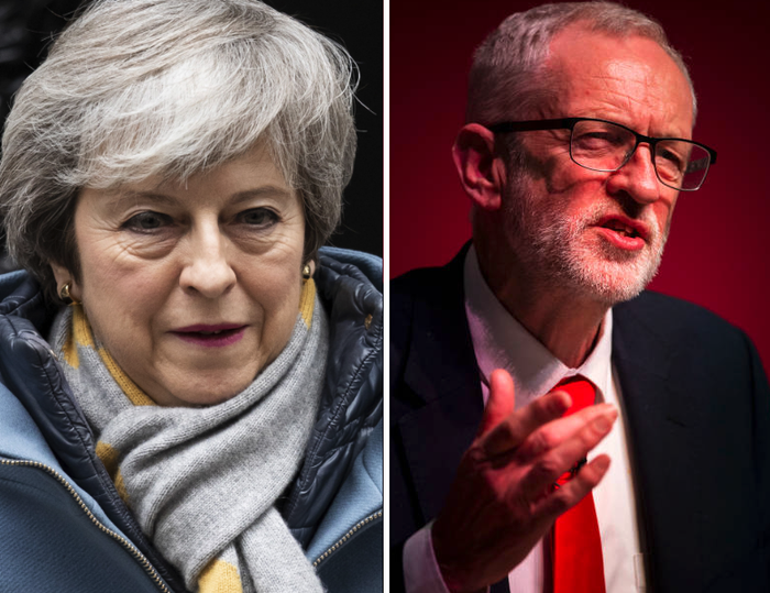 Prime minister Theresa May and Labour leader Jeremy Corbyn.