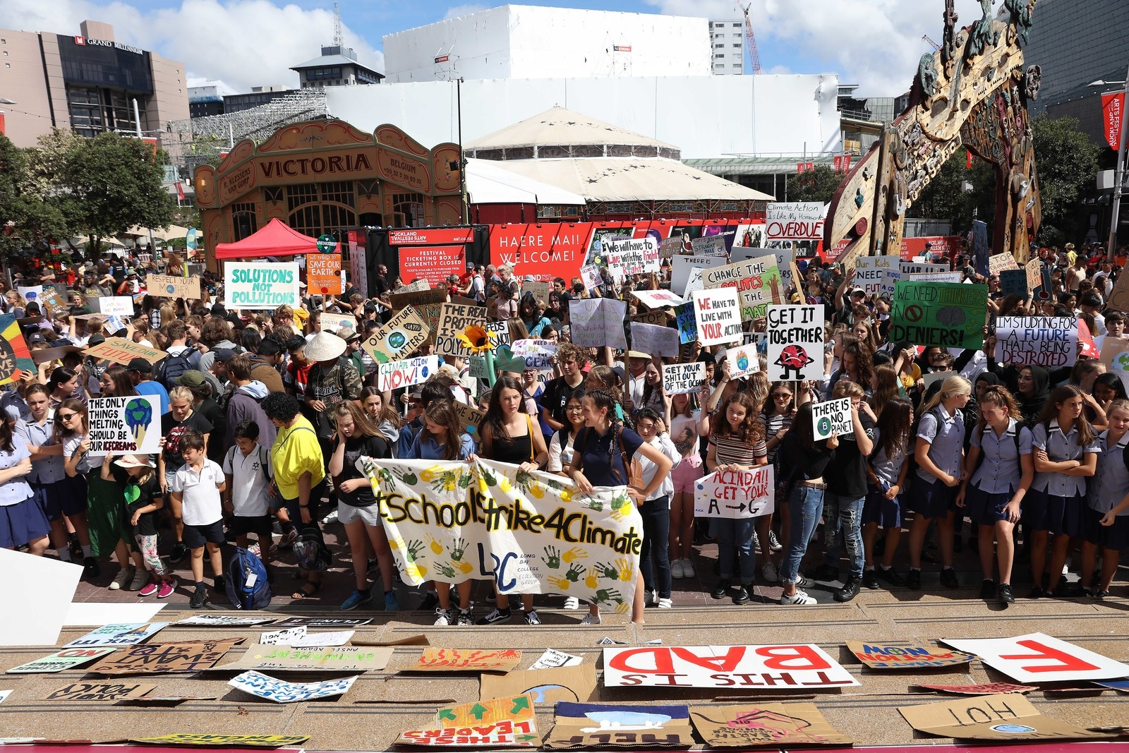 Students in Auckland's Aotea Square.